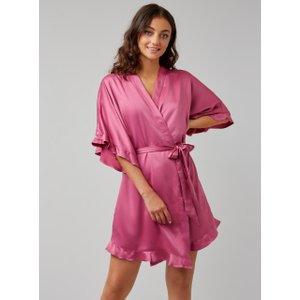 Boux Avenue Frill Satin Robe - Rose Pink - Rose Pink - Xs, Rose Pink