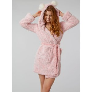 Boux Avenue Frosted Borg Dressing Gown - Charcoal - Pink - S, Pink