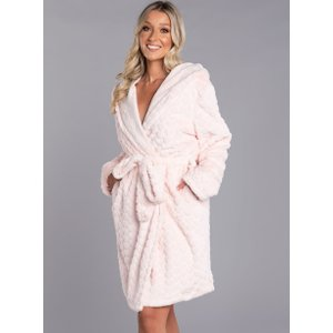 Boux Avenue Heart Fur Hooded Dressing Gown - Pink - L, Pink