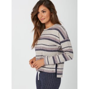 Boux Avenue Henley Stripe Boxy Sweater - 06 Navy Mix, Navy Mix