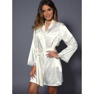 Boux Avenue Lace Trim Satin Robe - Cream - S, Cream