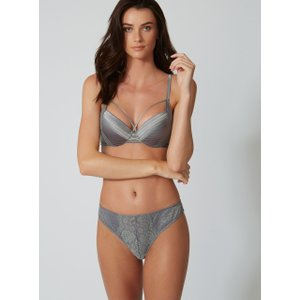 Boux Avenue Stitched Satin Thong - Pewter - 08, Pewter