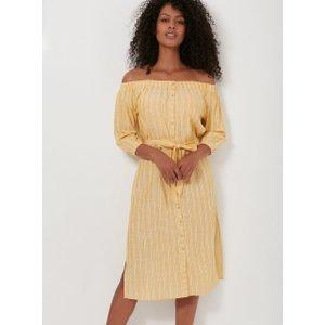 Boux Avenue Stripe Bardot Beach Dress - Yellow Mix - 08, Yellow Mix