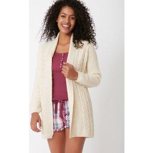 Boux Avenue Textured Longline Cardigan - Cream - 06, Cream