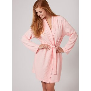 Boux Avenue Waffle Dressing Gown - White - Pink - S, Pink