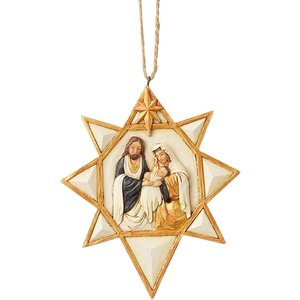 Black And Gold Nativity Star Hanging Ornament An375650 Decorations
