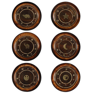 Mango Wood Round Plate Incense Holder With Brass Inlay Pack Of 6 Gada5919 Home Accessories