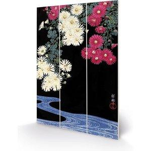 Ohara Koson - Chrysanthemum And Running Water 20 X 29.5cm Wooden Wall Art An398862 Decorations