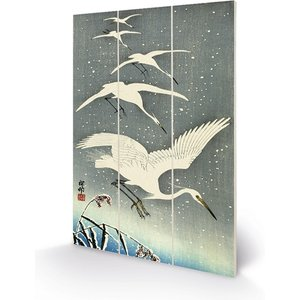 Ohara Koson - White Birds In Snow 20 X 29.5cm Wooden Wall Art An398877 Decorations