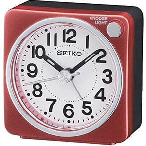 Seiko Qhe118r Bedside Alarm Clock Red Gad8534 House Accessories