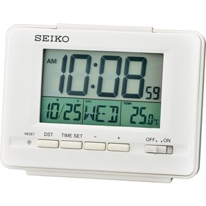 Seiko Qhl078w Lcd Alarm Clock With Calendar And Thermometer White Gada6110 House Accessories