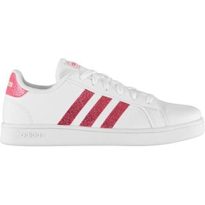 Adidas Grand Court Junior Girls Trainers - Wht/glitterpink 4051043376313 Shoes, Wht/GlitterPink