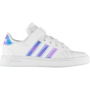 Adidas Grand Court Junior Girls Trainers - Wht/iridescent 4062058388246 Shoes, Wht/Iridescent
