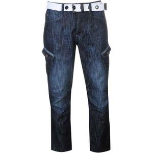 Airwalk Belted Cargo Jeans Mens - Dark Wash 5054636415337 Mens Trousers, Dark Wash