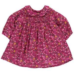 Benetton Baby Girl Floral Dress With Collar - Fuchsia Womens Dresses & Skirts, Fuchsia