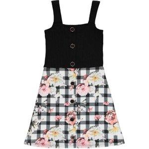 Firetrap Rib Skater Dress Junior Girls - Check Floral Fire K 363 Womens Dresses & Skirts, Check Floral