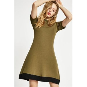 Jack Wills Baverstock Knitted Fit And Flare Dress - Olive 100014420014 Womens Dresses & Skirts, Olive