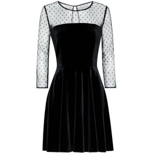 Jack Wills Holston Velvet Fit And Flare Dress - Black 100013592004 Womens Dresses & Skirts, Black