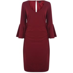 Marina V Neck Dress With Bell Sleeves - Red 261736h Womens Dresses & Skirts, Red