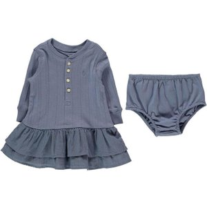 Polo Ralph Lauren Infant Girls Peplum Dress And Knickers Set - Carson Blue 310712445002 Baby Clothes, Carson Blue