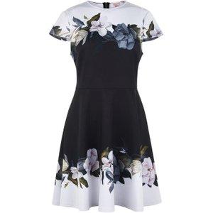 Ted Baker Opal Print Dress - Black 159017 Womens Dresses & Skirts, Black