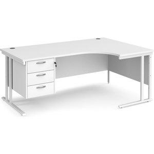 All White Premium C-leg Right Hand Ergonomic Desk 3 Drawers , 180wx120/80dx73h (cm) Mc18erp3whwh
