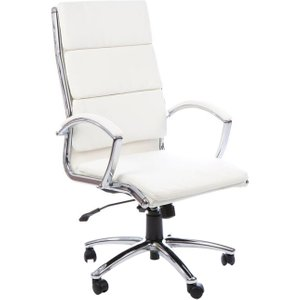 Andorra High Back Leather Faced Executive Chair, White, Free Standard Delivery CLASSIC HIGH BACK WHITE, White