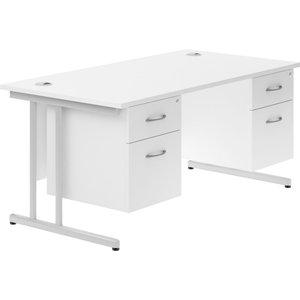 Astrada C-leg Double Pedestal Desk (white), 160wx80dx73h (cm), White Valpluscd16dpwh, White