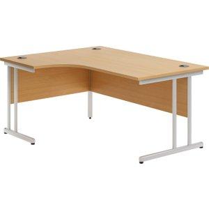 Astrada C-leg Left Hand Ergonomic Desk (beech), 180wx117/80dx73h (cm), Beech Valpluscw18lb, Beech