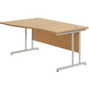 Astrada C-leg Left Hand Wave Desk (beech), 160wx100/80dx73h (cm), Beech, Free Standard Delivery VALPLUSCWV16LB