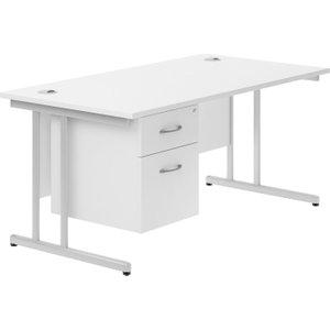 Astrada C-leg Single Pedestal Desk (white), 120wx80dx73h (cm), White, Free Next Day Delivery NDVALPLUSCD12SPWH