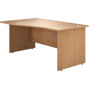 Astrada Panel End Left Hand Wave Desk (beech), 160wx100/80dx73h (cm), Beech, Free Standard Delivery VALPEWV16LB