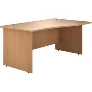 Astrada Panel End Right Hand Wave Desk (beech), 120wx100/80dx73h (cm), Beech, Free Next Day Delivery NDVALPEWV12RB
