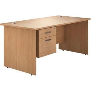 Astrada Panel End Single Pedestal Desk (beech), 180wx80dx73h (cm), Beech, Free Standard Delivery VALPED18SPB