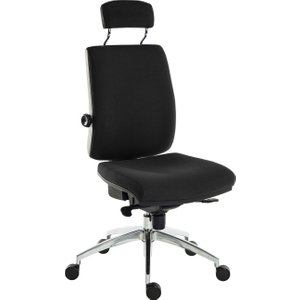 Baron Deluxe 24hr Ergonomic Chair With Headrest (fabric), Black, Free Next Day Delivery 9700 / R530 BLACK, Black