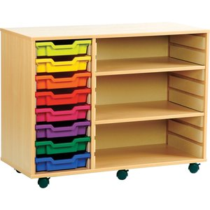 Combination Tray Storage Bookcase,  8 Trays/2 Shelf - 103wx46dx79h (cm), Red/blue/yellow Meq8/2s Red/blue/yellow, Red/Blue/Yellow