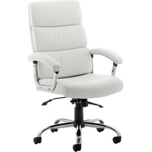 Crave High Back White Leather Faced Executive Chair, White, Free Delivered & Fully Installed Deliver DESIRE HIGH BK WHITE ASSEMBLED, White