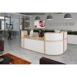 Curve Modular Reception Desk, Rectangular Base Unit 160w (cm), Beech/white Ru16d Bwh, Beech/White