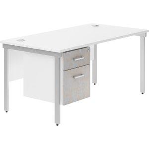 Delgado H-leg Single Pedestal Desk (concrete), 120wx80dx73h (cm), Silver/concrete, Free Delivered &  DIVALBD12SPCSIL