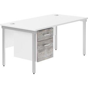 Delgado H-leg Single Pedestal Desk (platinum Oak), 120wx80dx73h (cm), Silver/platinum Oak, Free Next NDVALBD12SPPOSIL
