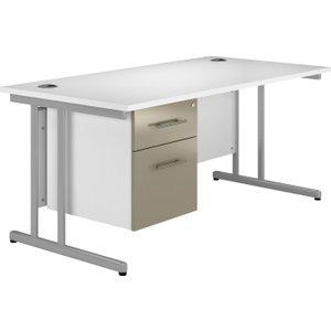 Illusion C-leg Single Pedestal Desk Stone Gloss, 140wx80dx73h (cm), Stone Grey, Free Standard Delive VALPLUSCD14SPSG