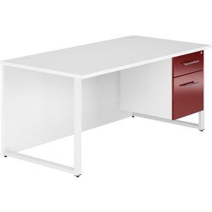 Illusion Hooped Leg Single Pedestal Desk (burgundy Gloss), 120wx80dx73h (cm), Free Standard Delivery B2RDSP12BG
