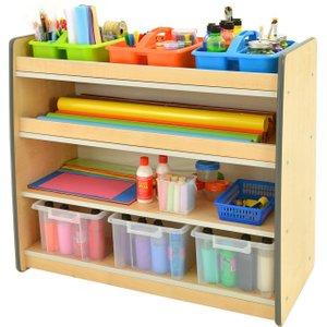 Junior Arts And Craft Storage Unit With 3 Shelves, Blue Mxr0028/bl, Blue