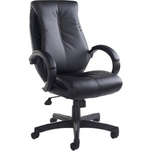 Lavezzi High Back Leather Faced Executive Chair, Black, Free Delivered & Fully Installed Delivery NAN300T1, Black