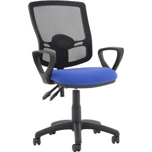 Lunar Plus 2 Lever Deluxe Mesh Back Operator Chair (fixed Arms), Tabasco Red Kcup1626 Eco, Tabasco Red