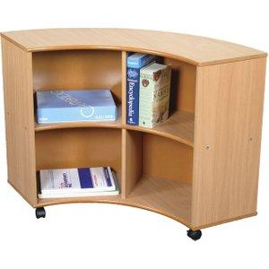 Mobile Curve Out Book Storage Unit, Beech Qru/2, Beech