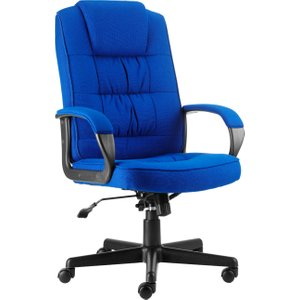 Muscat Fabric Executive Chair, Blue, Free Delivered & Fully Installed Delivery MOORE FABRIC BLUE ASSEMBLED, Blue