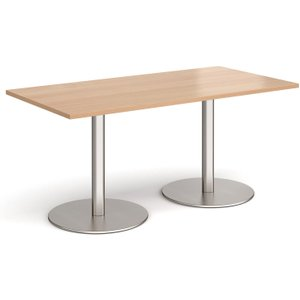 Next-day Amstel Rectangular Dining Table, 160wx80dx73h (cm), Brushed Steel/beech, Free  De Eb18wh Nd, Brushed Steel/Beech