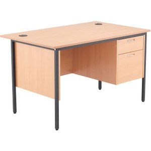 Next-day Origin H-leg Clerical Desk 2 Drawers, 123wx75dx73h (cm), Beech, Free  Delivery STB12RECDRW2 BE, Beech