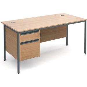 Next-day Value Line Classic H-leg Basic Clerical Desk 2 Drawer, 153wx75dx73h (cm), Beech,  H6P2B NDX, Beech